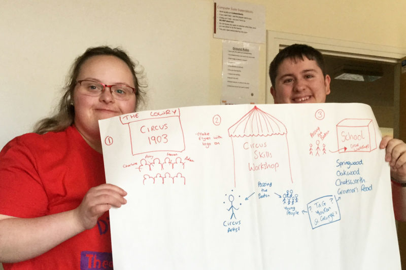 Photo of DIY's Young Leaders, Hannah and Adam explaining their idea for a Circus Skills project