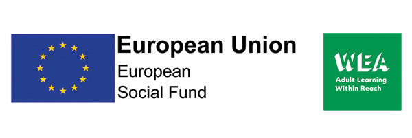 Funder logos - ESF (European Social Fund) from the European Union and WEA (the Workers Education Authority)