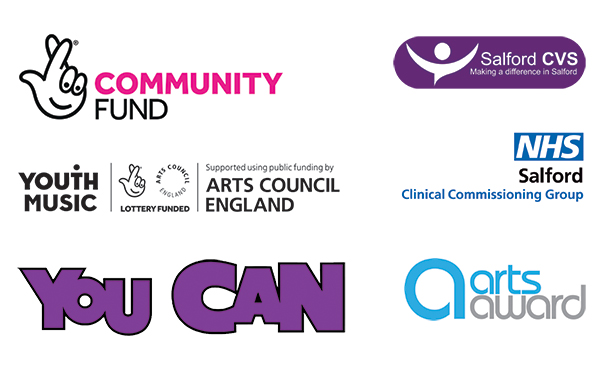 Logos of our funders, The National Lottery Community Fund, Youth Music, and of the National Lottery via Arts Council England, Salford CVS and NHS Salford CCG, Arts Award, and partner You Can.