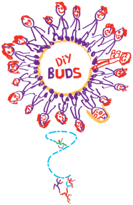DIY Buds logo showing lots of stick people in a circle