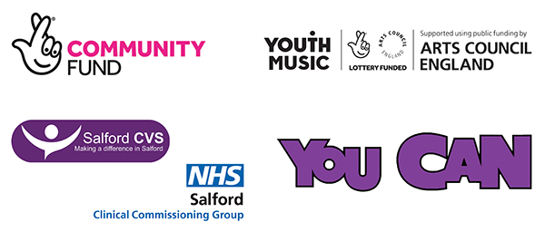 Logos of our funders and supporters for Passing the Baton work; The National Lottery Community Fund, Youth Music, Salford CVS, Salford CCG and our partners in delivery You Can Community Club