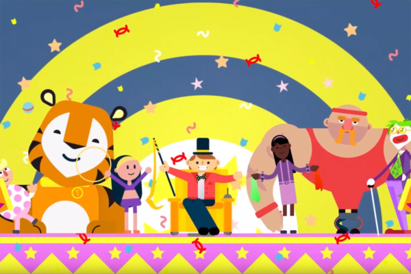 A scene from the animated video showing all of the characters on stage