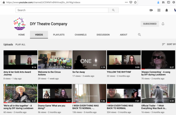 picture of computer screen showing DIY Theatre's YouTube channel with a selection of videos