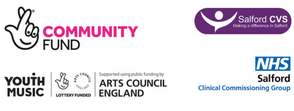 logos of DIY's funders for this work: The National Lottery Community Fund, Youth Music, Salford CVS and Salford CCG.