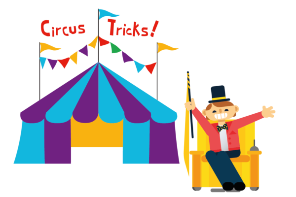 illustration showing the Ring Master next to a tent with bunting