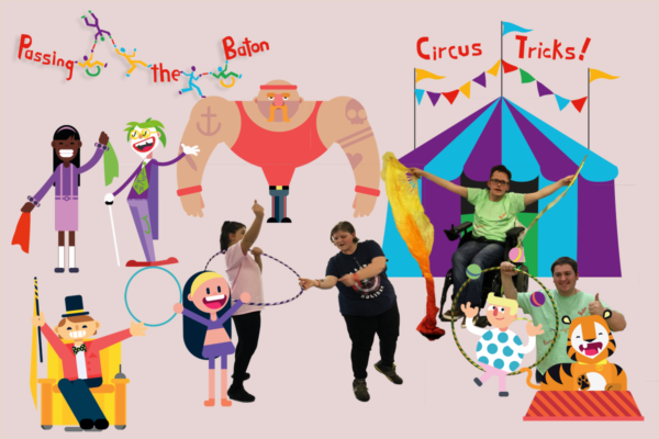 Passing the Baton logo with picture of young people learning circus tricks with animated characters
