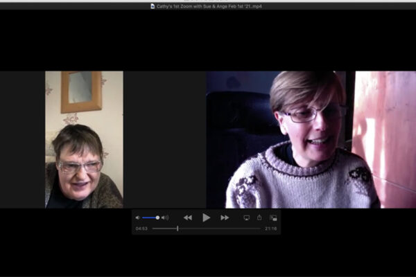 Digital Inclusion - photo of Cathy when she first joined a Zooms Session