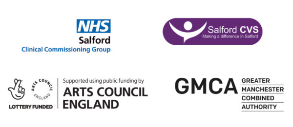 Logos of our Digital Inclusion Funders; NHS Salford CCG, Salford CVS, Arts Council England and Greater Manchester Combined Authorities.