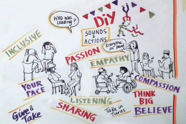 illustration showing how DIY leads using 'sharing, empathy, listening, taking in turns, think BIG, believe'