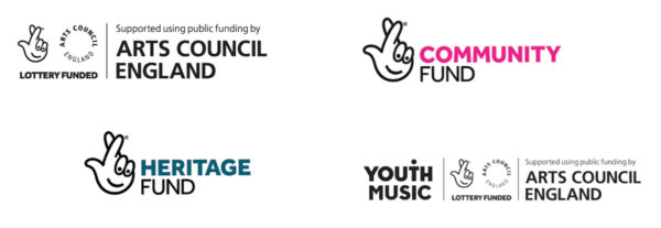 Funders logos; Arts Council England, the National Lottery Community Fund, the National Lottery Heritage Fund and Youth Music.