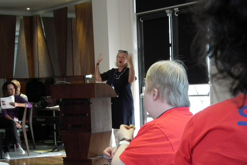 Photo of Jenny Sealey addressing the conference