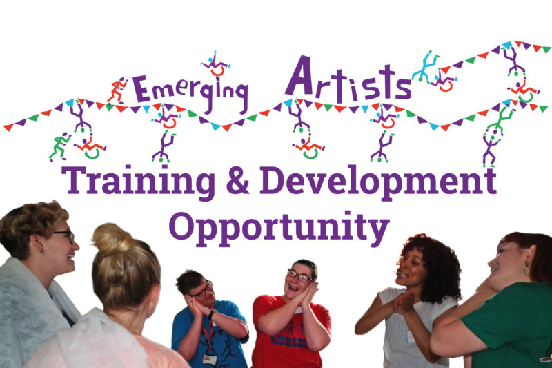 Emerging Artists Training Opportunity - with photo of a training session